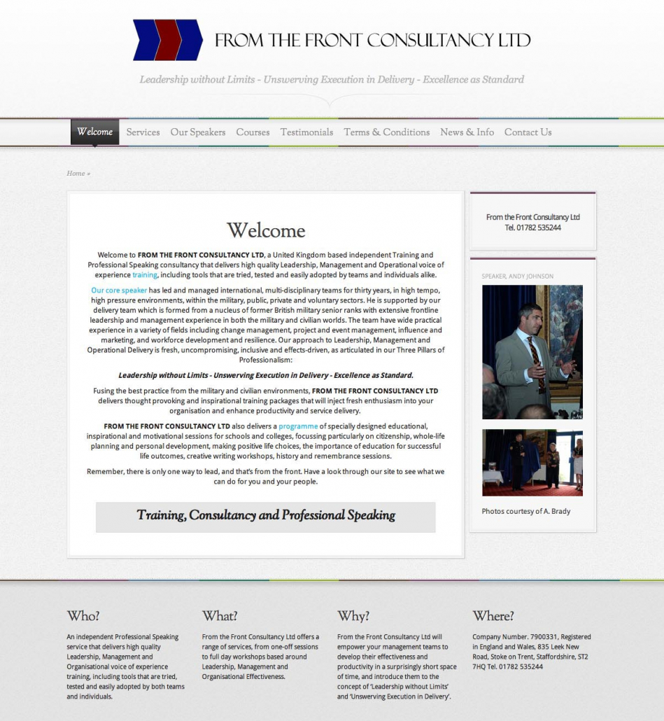 From the Front Consultancy Ltd CMS Web Design